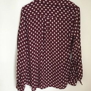 LOFT Tops - Loft Acorn Burgundy Button Down Blouse